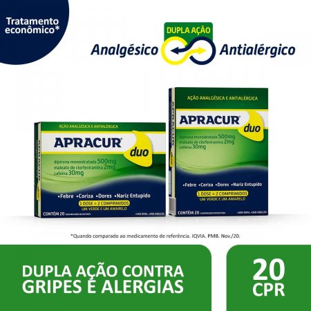 Apracur Duo com 20 Comprimidos