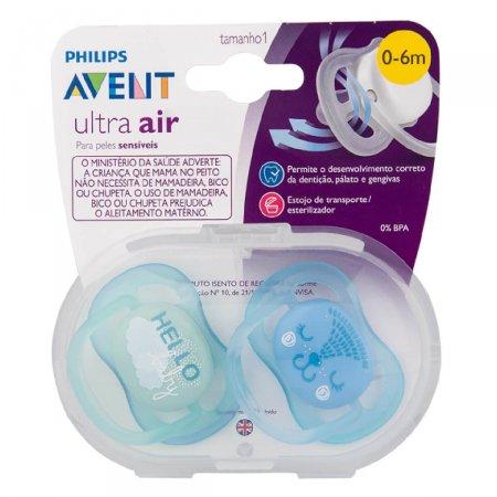 Chupeta Philips Avent Ultra Air Decorada Verde e Azul 0 á 6 Meses 2 Unidades