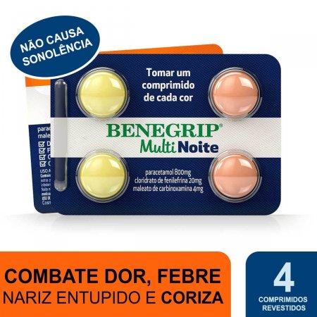 Benegrip Multi Noite 800mg + 20mg + 4mg com 4 comprimidos