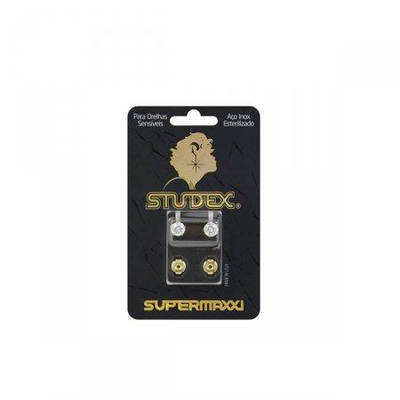 Brinco Studex Supermaxxi Dourado Pedra Branca