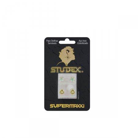 Brinco Studex Supermaxxi Dourado Pedra Cristal Espelhado