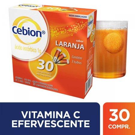 Cebion Vitamina C 1g Sabor Laranja com 30 Comprimidos