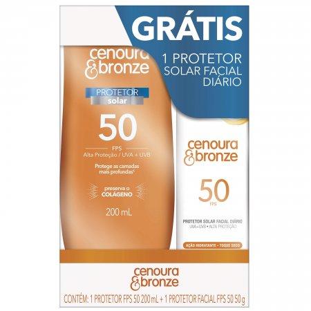 Kit Cenoura & Bronze Protetor Solar Corporal FPS50 + Protetor Solar Facial FPS50