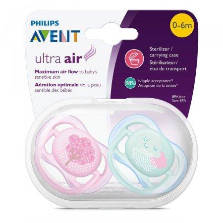 Chupeta Avent Ultra Air 0 a 6 meses Rosa e Verde