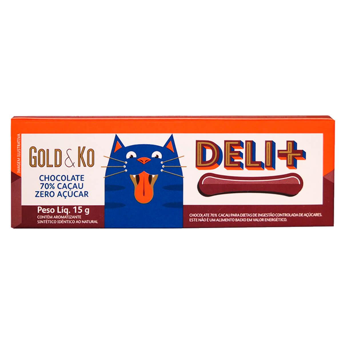 Chocolate Gold e Ko Deli+ Zero Açúcar 70% Cacau 15g Deli Deli 15g