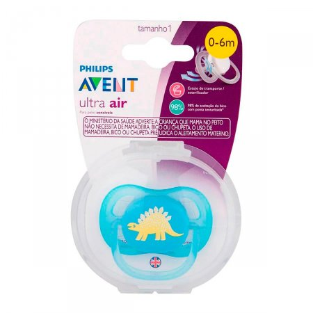 Chupeta Avent Ultra Air Decorada Azul 0 a 6 Meses
