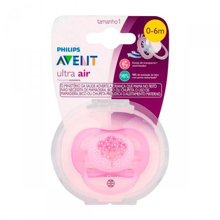 Chupeta Avent Ultra Air Decorada Rosa 0 a 6 Meses