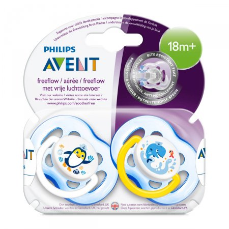 Chupeta Philips Avent Freeflow Decorada Azul 18 Meses + 2 Unidades