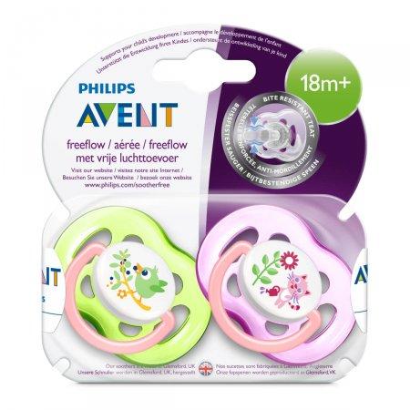 Chupeta Philips Avent Freeflow Decorada Rosa e Verde 18 Meses + 2 Unidades