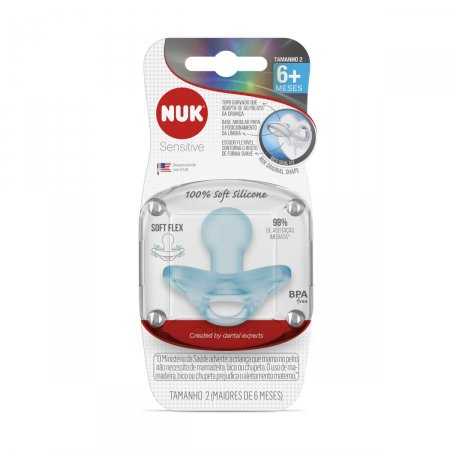Chupeta Nuk Sensitive 100% Soft Silicone Tamanho 2 Azul
