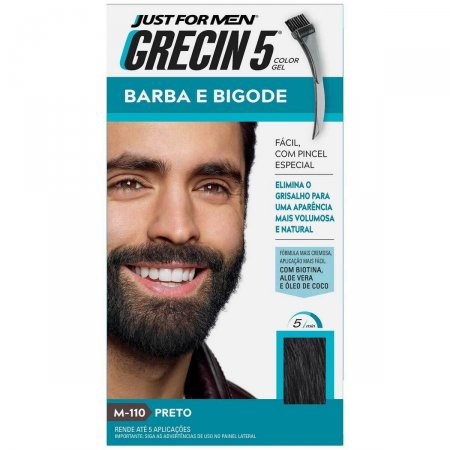 Tonalizante Grecin 5 Just For Men Color Gel Barba e Bigode Preto