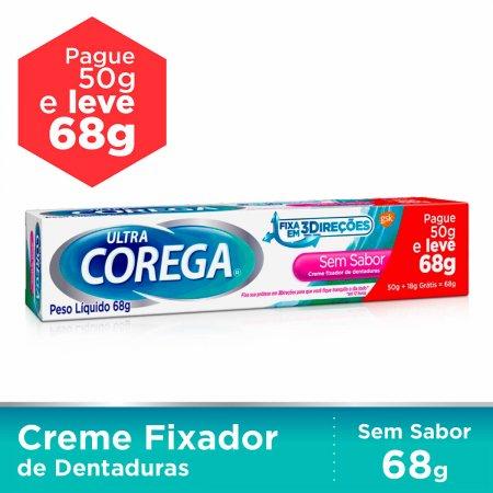 Creme Fixador de Dentadura Corega Ultra Sem Sabor Leve 68g Pague 50g
