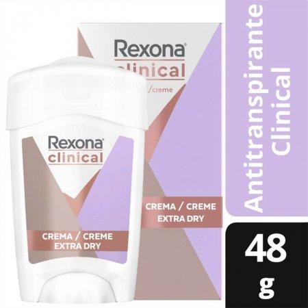 Desodorante Antitranspirante em Creme Stick Rexona Clinical Extra Dry Feminino com 48g