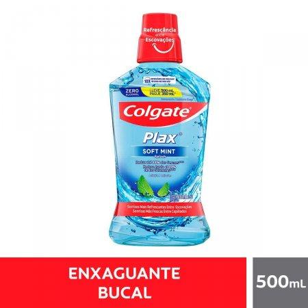 Enxaguante Antisséptico Bucal Colgate Plax Soft Mint com 500ml