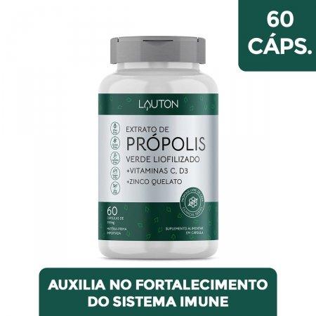 Extrato de Própolis Lauton Verde Liofilizado + Vitaminas C e D3 + Zinco com 60 cápsulas