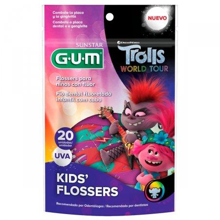 Fio Dental Infantil Flosser Gum Trolls Sabor Uva