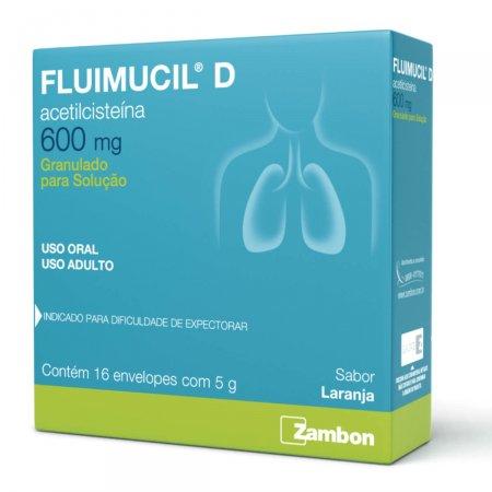 Fluimucil D 600mg com 16 envelopes de 5g