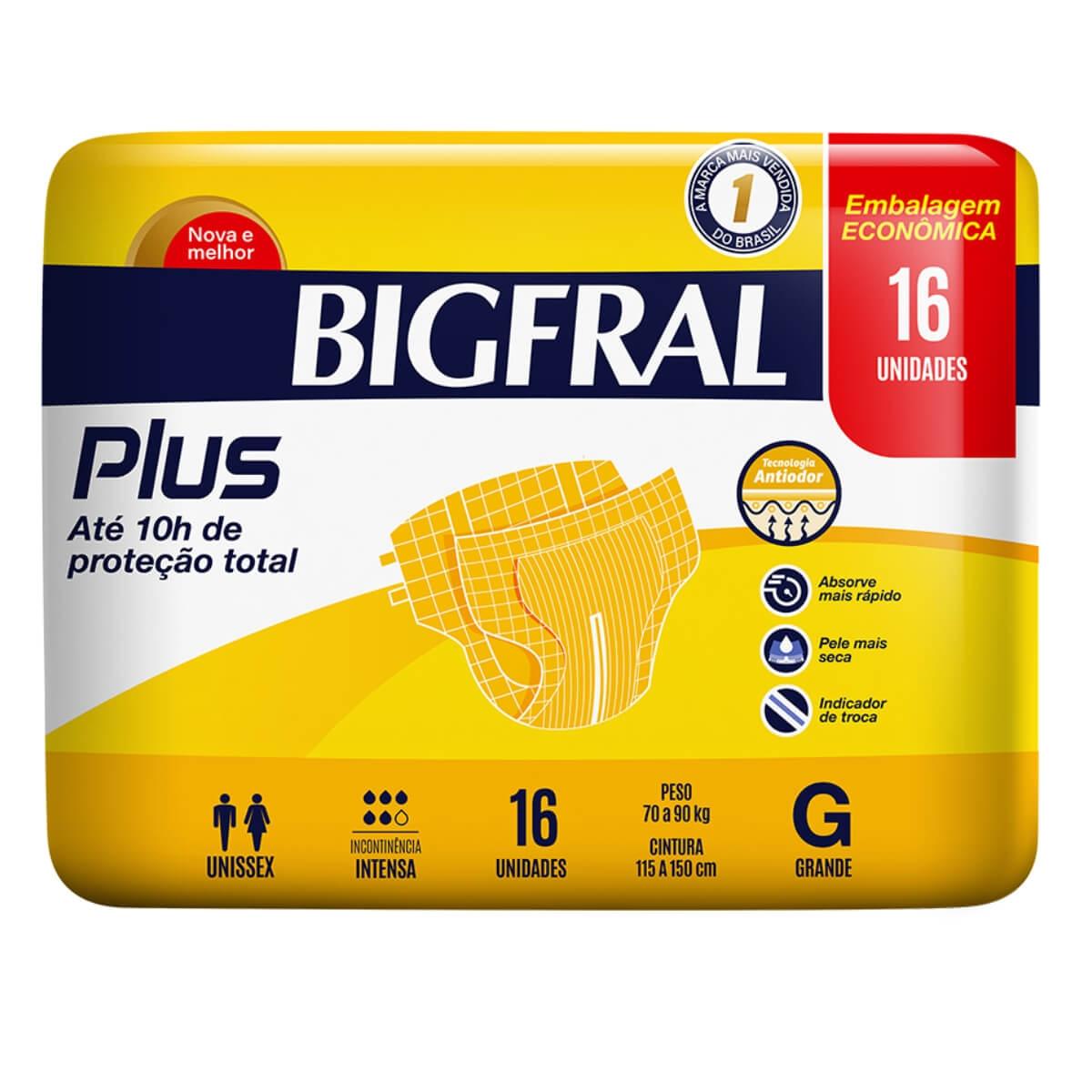 Fralda Geriátrica BifFral Plus G com 16 unidades Bigfral 16 Tiras