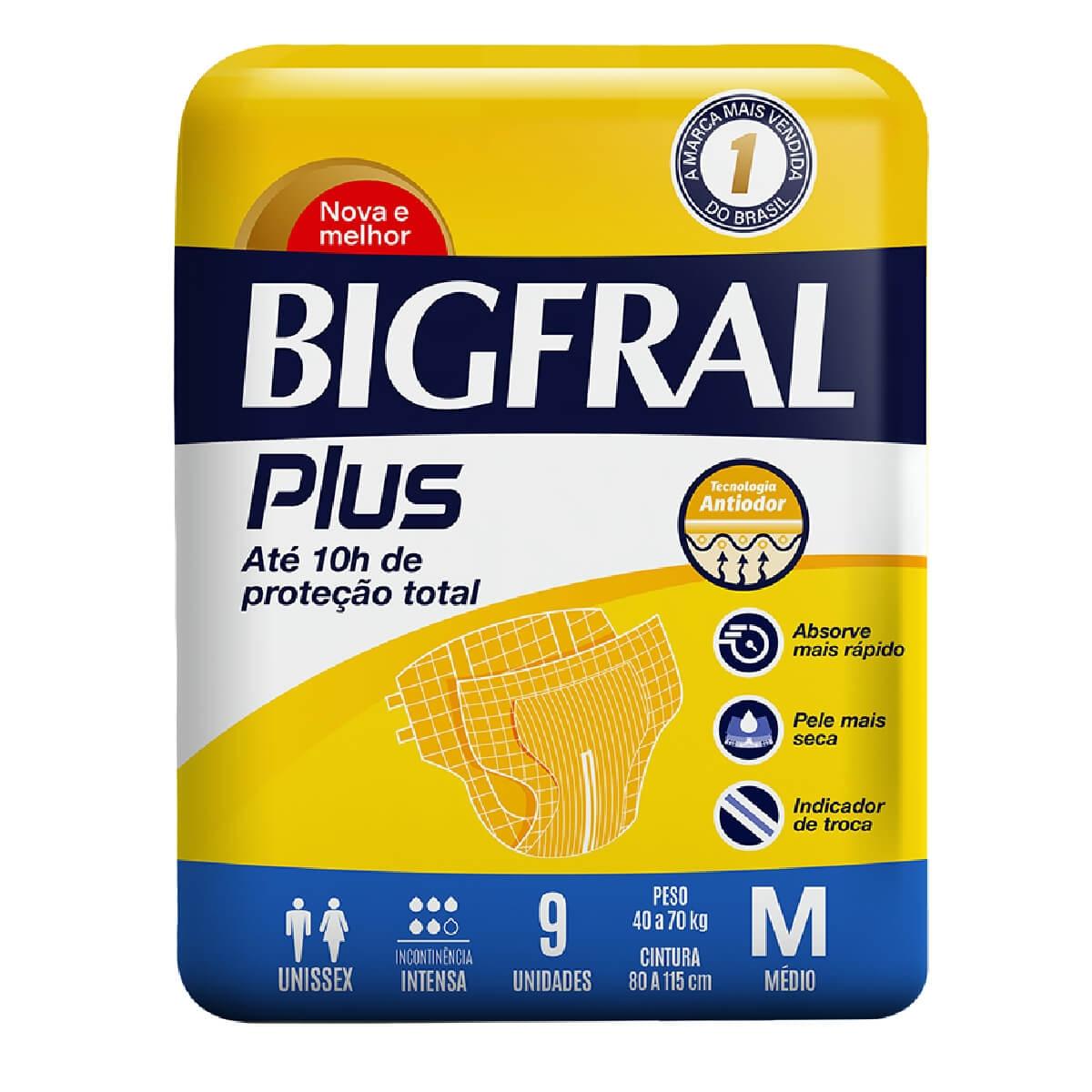 Fralda Geriátrica Bigfral Plus M com 9 unidades 9 Tiras