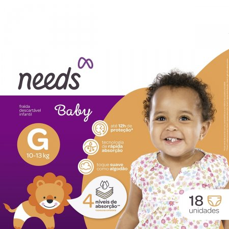 Fraldas Descartáveis Needs Baby Tamanho G