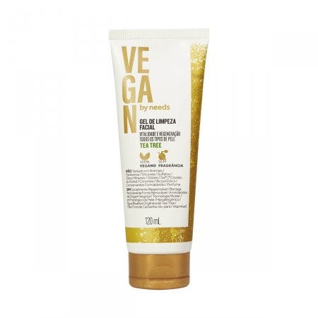 Gel de Limpeza Facial Vegan By Needs Tea Tree Sem Fragrância com 120ml