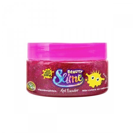 Gel para Cabelo Beauty Slime Glitter Rosa