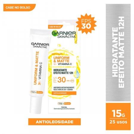 Hidratante Facial Garnier SkinActive Unform&Matte Vitamina C FPS30 15g | Drogaraia.com Foto 1