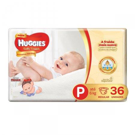 Fralda Huggies Soft Touch Primeiros 100 Dias Tamanho P 36 Unidades