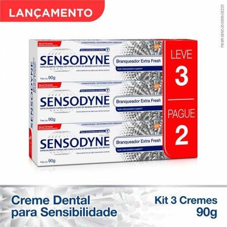 Kit Creme Dental Sensodyne Branqueador Extra Fresh 3 Unidades Foto 2