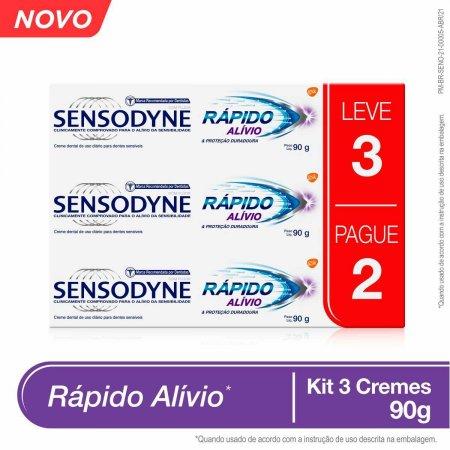 Kit Creme Dental Sensodyne Rápido Alívio para Dentes Sensíveis com 3 Unidades