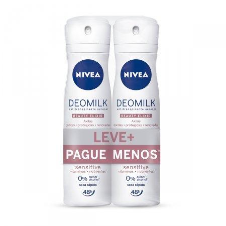 Kit Desodorante Aerosol Nivea Deomilk Beauty Elixir Sensitive