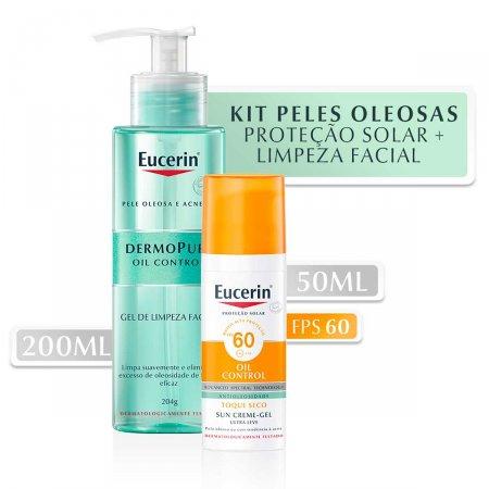 Kit Protetor Solar Facial Eucerin Sun Oil Control  FPS60 52g + Gel de Limpeza Dermopure 200ml |