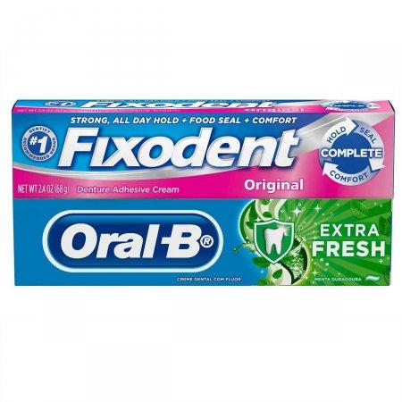 Kit Fixador de Dentadura Fixodent Original 68g + Creme Dental Oral-B Extra Fresh 70g