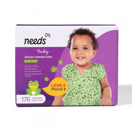 Kit Lenço Umedecido Needs Baby Aloe Vera 176 Unidades |