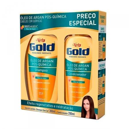 Kit Shampoo + Condicionador Niely Gold Óleo de Argan Pós-Química