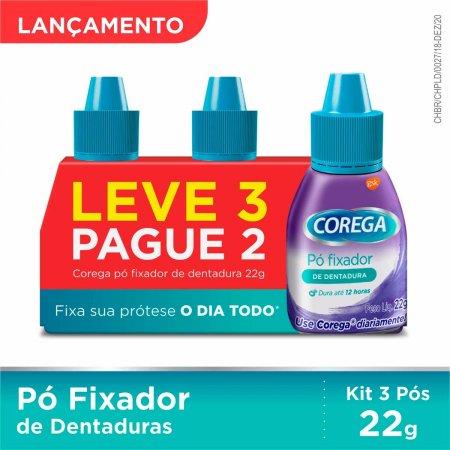 Kit Pó Fixador de Dentadura Corega 3 Unidades Foto 2