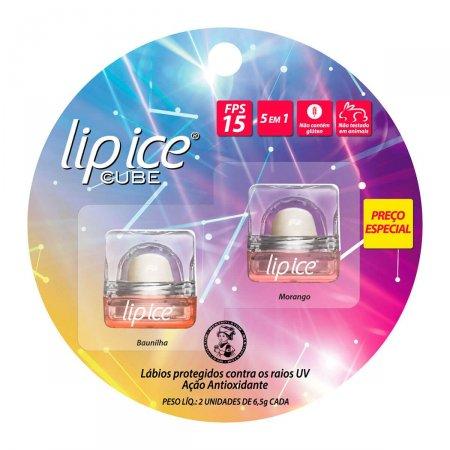 Kit Protetor Labial Lip Ice Cube Morango e Baunilha FPS15 6,5g cada |