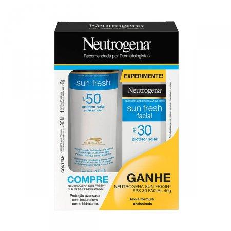 Kit Neutrogena Sun Fresh Protetor Solar Corporal FPS 50 com 200ml + Protetor Solar Facial FPS 30 com 40g