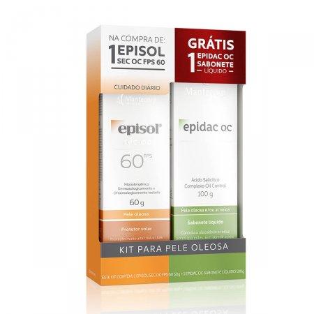 Kit Protetor Solar Episol Sec OC FPS60 60g + Sabonete Líquido Epidac OC 100g |