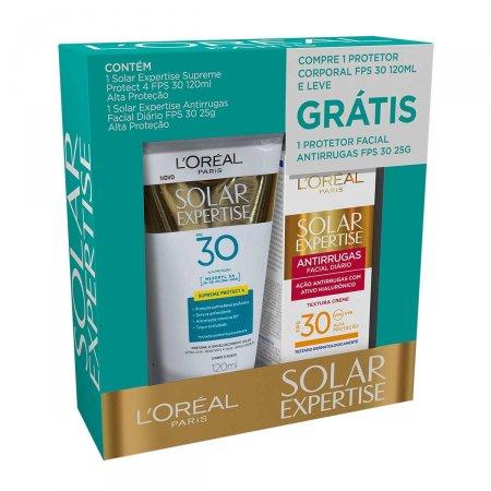 Kit Protetor Solar L'Oréal Expertise Supreme Protect F30 120ml + Protetor Solar Facial Antirrugas F30 25g