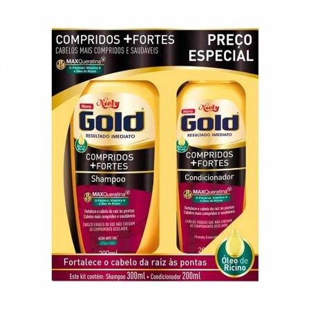 Kit Niely Gold Shampoo 300ml + Condicionador 200ml Compridos +Fortes