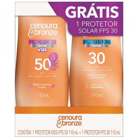 Kit Protetor Solar Cenoura & Bronze com 1 Protetor Infantil Kids FPS 50 com 110ml + 1 Protetor Adulto FPS 30 com 110ml