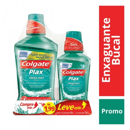 Kit Enxaguante Antisséptico Bucal Colgate Plax Fresh Mint com 2 unidades 500ml + 250ml