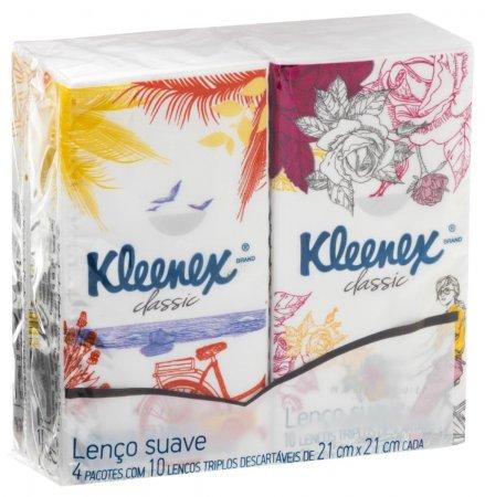 Lenços Kleenex Bolso Suave 4 Pacotes de 10 Unidades cada