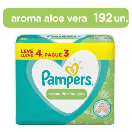 Kit Lenços Umedecidos Pampers Aroma de Aloe Vera com 4 pacotes de 48 unidades