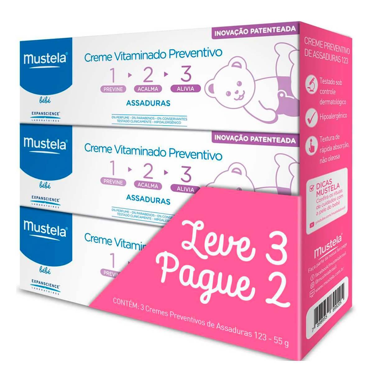 Kit Creme Vitaminado Preventivo Mustela Baby 1-2-3 Assaduras Leve 3 Pague 2 1 Kit
