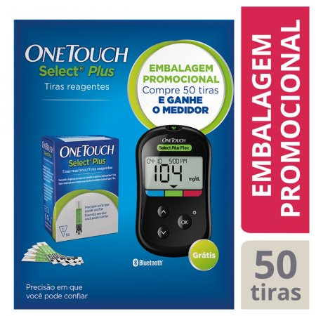 Kit Promocional OneTouch Select Plus Flex Compre 50 Tiras e Ganhe o Medidor