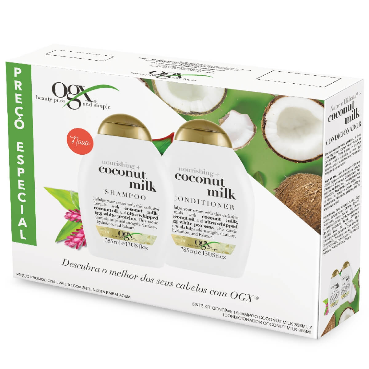 Kit Shampoo + Condicionador OGX Coconut Milk 1 Unidade