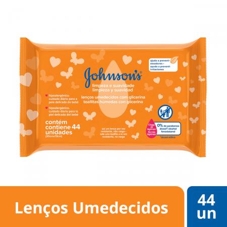 Lenço Umedecido Johnson's Limpeza e Suavidade com 44 unidades