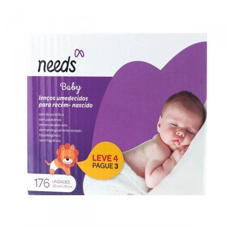 Lenços Umedecidos Needs Baby Recém-Nascido com 176 unidades